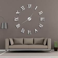 modern diy large wall clock 3d mirror surface sticker home decor art giant wall clock watch