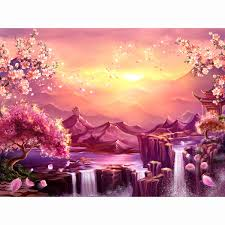 Allenjoy Waterfall Photography Backdrop Nature Mountain Ancient Japan Flower Tree Sakura Blossom Background Studio Photocall
