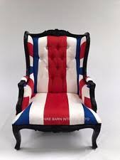 ARM CHAIR UNION JACK BLACK RED WHITE BLUE ORNATE CLUB BAR HOME SALON FREE  DELIVE