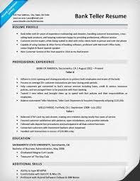 Sample Resume For A Bank Teller Bank Teller Resume Sample Writing