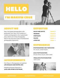 Yellow Photographer Creative Resume