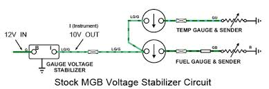 how to replace your mgb thermal voltage stabilizer Smiths Fuel Gauge Wiring Diagram stock mgb voltage stabilizer circuit diagram Fuel Gauge Problems