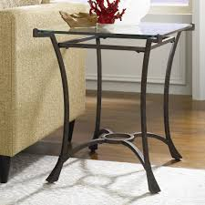 contemporary metal rectangular end table with glass top by hammary