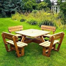 large wooden picnic table wooden outside table full image for large round wooden garden table and