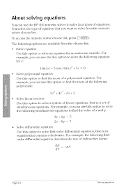 about solving equations about solving equations 2 solving hp 49g graphing calculator user manual page 132 242