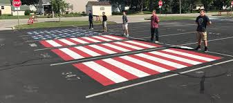 lebanon high school military recruits paint patriotic parking spots local news 13 wthr indianapolis
