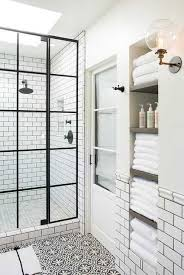 white and black bathroom boasts an alcove filled with shelves scheme from shower glass shelf