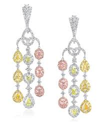 fancy color diamond waterfall chandelier earrings