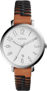 women s fossil jacqueline black and brown leather watch es4208 loading zoom