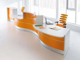 orange office furniture. Office Furniture : Astounding Modern Modular Performing White Orange Accentuate With Curvy Reception Table Against Nice Chairs 0