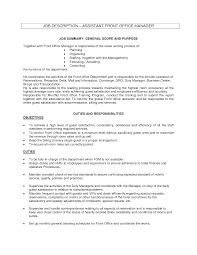 ideas collection sample resume resume front office manager job duties and with additional front office agent
