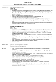 Education Coordinator Resumes Program Coordinator Resume Magdalene Project Org