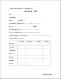 Babysitter Form All About Me Information Printable Abcteach