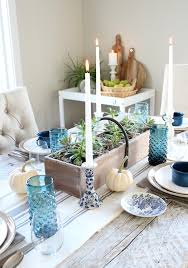 fall home tour farmhouse dining room with blue table decor satori design for living