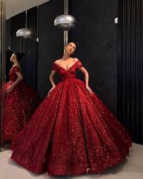 2019 <b>Hot Red</b> Evening Dresses Off The Shoulder <b>V Neck</b> Ball Gown ...