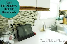 Stick On Backsplash For Kitchen Easy Diy Self Adhesive Faux Tile Backsplash Days Of Chalk And