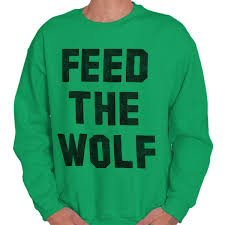 Details About Feed The Wolf Hangry Workout Fitness Gym Gift Mens Crewneck Pullover Sweat Shirt