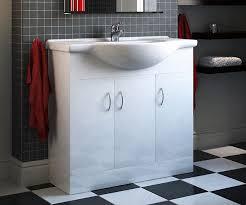 free standing sink. Essential Plus White 850mm Freestanding Vanity Unit With Basin (330 Depth) - V50121066BU Scene Free Standing Sink F