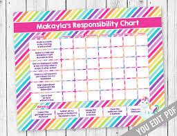 Chore Chart For Kids Unicorn Chore Chart Incentive Chart Allowance Chart Weekly Chart Behavior Chart Chore Chart You Edit Pdf