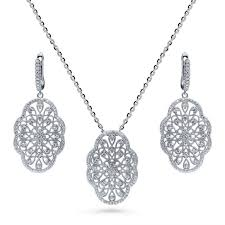 sterling silver cubic zirconia cz art deco filigree flower fashion necklace and earrings set vs61 berricle