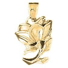 image is loading 14k gold rose flower pendant yellow white or