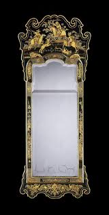 A George II Green Japanned Pier Mirror attributed to Giles Grendey with  green chinoiserie decoration