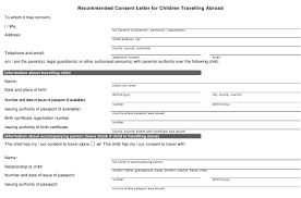 free child travel consent forms fill