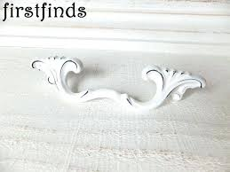 White Drawer Pulls 2 French Provincial Handles Shabby Chic  Blue And Porcelain O6