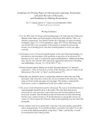 Literature Review Written In Apa Format Guidelines For Writing A