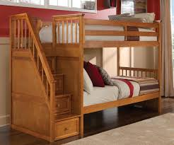 NE Kids School House Staircase Bunk Bed in Pecan Model 6090