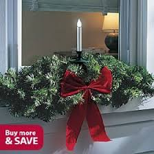 Outdoor LED Christmas Window Candle and Swag, Single, SINGLE