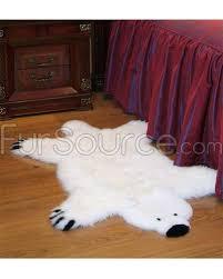 kids white polar bear sheepskin fur rug