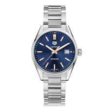 tag heuer carrera watches the watch gallery® tag heuer carrera quartz stainless steel blue dial mens watch war1112 ba0601