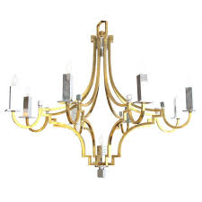 stylish french 1960s brass and chrome nine light basket form chandelier for