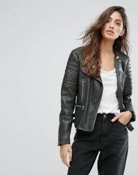 goosecraft zip detail buckled collarless biker jacket