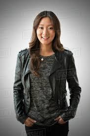 chinese woman wearing leather jacket