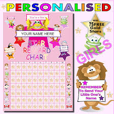 Childrens Sticker Chart Free Childrens Reward Chart For Girls A4 Personalised With 75 Free Gold Metallic Stars Remember To Tell Us The Name You Would Like To Be Printed On The