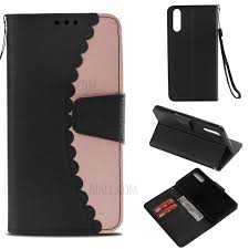 bi color splicing wallet stand leather flip phone case cover for huawei p20 black