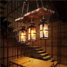 industrial woody wrought iron pendant light chandelier hanging lamp celling lights fixture metal cage with glass shade for indoor bar