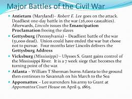 Major Battles Of The Civil War Chart 10 March 2016 Www Cobblearning Net Adleys