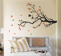 orange flowers tree branch wall art contemporary modern simple bedroom beautiful sofa steel antique on wall art with real tree branches with wall art design ideas orange flowers tree branch wall art