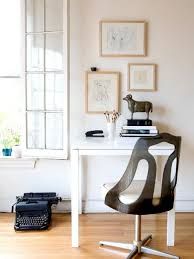ideas for a small office. Interior, Chic Typewriter On Wooden Floor Under Glass Window Side Beautiful Picture Cute Frame. Amazing Book Shelf For Small Office Ideas A