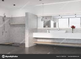 Grau Bad Mit Dusche Waschbecken Stockfoto Denisismagilov
