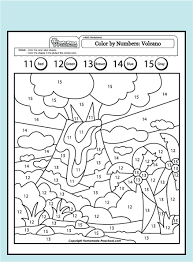 This page has a lot of free printable number trace worksheet for kids and preschool teachers.writing number worksheets are an excellent resource for students who … Worksheet Math Color Volcano 11 15 Pdf Png 438 594 Pixels Preschool Worksheets Kindergarten Worksheets Kindergarten Math Worksheets
