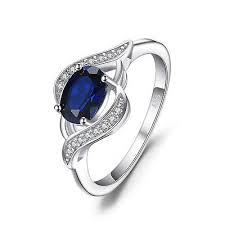 <b>JewelryPalace</b> 1.14ct <b>Created Blue Sapphire</b> Statement Ring 925 ...