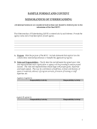 memorandum of understanding templates in pdf word excel memorandum of understanding sample format and content