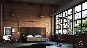 industrial look bedroom. Wonderful Industrial An Exposed Brick Wall Give This Loft Bedroom A Trendy Industrial Look Throughout Industrial Look Bedroom