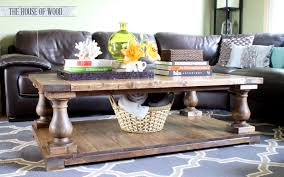 this wood coffee table adds a rustic element to the living room