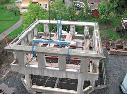 embly of the concrete frame for the oconal ground floor and rectangular upper floor has been