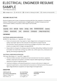 Electrical Engineering Sample Resumes Electrical Engineer Resume Example Writing Tips Resume
